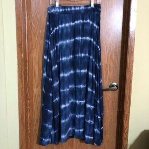 Merona blue and white tie dye maxi skirt boho